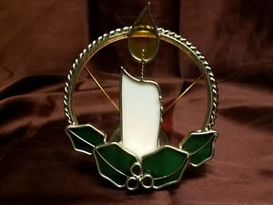 Stained Glass Candle Holder Holiday Christmas Decor Candles Hollyberry Excellent