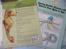 "SEAHORSE~Lois Boncer *RARE OOP 15"" tall whimsical cloth art doll pattern + 2009"