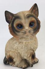 "Vintage Cat Kitten Sitting Ceramic Figurine Statue Marked Japan 7"" Tall"