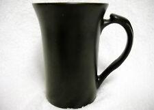 Tall Slender Flat Black Matte Coffee Mug Flared Top Thumb Rest Handle Unmarked