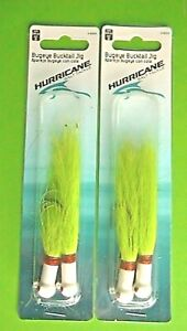 2 PACKS- HURRICANE 3/4oz BUGEYE BUCKTAIL JIG WHITE with CHARTREUSE TAIL 2-COUNT