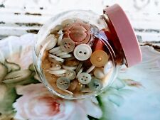 Vintage Small Pink Glass Jar Of Pearl white Pink Buttons