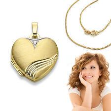 Echt Gold 333 Damen Foto Medaillon Herz Anhänger Bilder Amulett mit Silber Kette