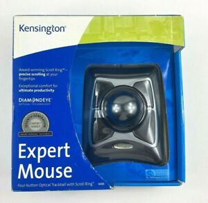 Kensington® Expert Mouse Wired Trackball, Scroll Ring, Black/Silver Brand New