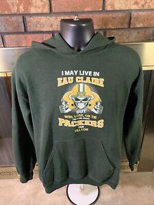 Green Bay Packers NFL Football Hoodie Hooded Sweatshirt Mens Medium Eau Claire