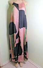 Brooke Coleman Navy & Pink Abstract Print Origami Open Back Halter Maxi Dress