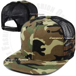 Trucker Hat Mesh Baseball Cap Plain Snapback Adjustable Hip Hop Blank Flat Men