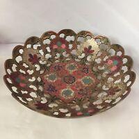 Enameled Brass Pedestal Bowl Cut-Out Enamel Floral Design