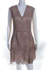 Reiss Womens V-Neck Mid Length A-Line Dress Pink 6