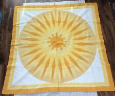 "79x79"" Handmade Quilt in Yellow Sunburst Style of Pre-WWII Illinois"
