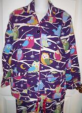Nick and Nora Purple Owl Pajamas Small S Cotton Fleece Top Pants Set