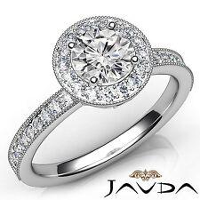 Round Diamond Milgrain Engagement Halo Pave Set Ring GIA E VS1 Platinum 1.22Ct