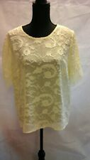 BNWT 'Forever 21' pale Yellow Sheer Short Sleeve Lace Trimmed Top Size L