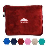 BlueHills Premium Soft Red Travel Blanket Pillow Airplane Blanket in case