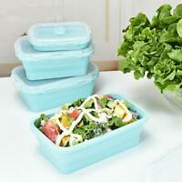 3pcs/set Silicone Folding Bento Box Collapsible Lunch Boxes Food Container