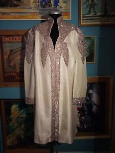 "Stunning Men's Intricate Stoned Sherwani Wedding Jacket Size 46"""