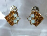 VINTAGE SMALL GOLD TONE CITRINE & WHITE RHINESTONE EARRINGS