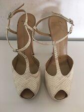 Giuseppe Zanotti Beige Snakeskin Platform T Strap Sandals Size 41 Authentic