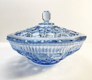 Crystal Blue Round Divided Serving Dish Indiana Glass Windsor Pattern Cane /& Button Candy Nut Relish Fruit Glassware 1960s Home Dining Decor