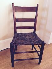 Antique 19th C SHAKER Straight Chair Woven Seat Milk Paint Rem Refinished