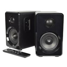 Active Wireless Bluetooth Bookshelf Speakers Pair AUX/USB/SD + Remote Black