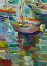 JOSE TRUJILLO Oil Painting Sailboats Movement Water Reflection ORIGINAL NEW