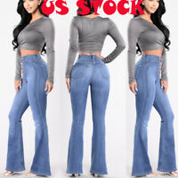 Womens Vintage High Waist Flared Bell Bottom Jeans trendy Light Denim 70s Pants