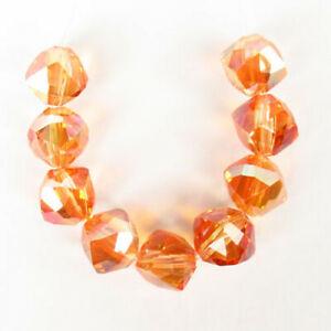 9Pcs/Set Faceted Orange Titanium crystal Tumble Pendant Bead F86912