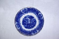 "Antique Flow Blue 9.75"" Bowl Classisal Landscape"