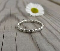Handmade Sterling Silver 1.5mm Double Twist woven stacking ring