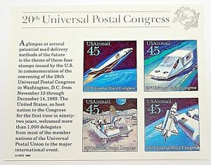 US SC C126 Airmail Souvenir Sheet 20th UPU Universal Postal Congress 1989 MNH OG