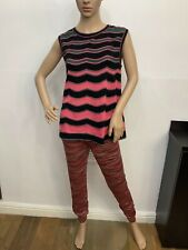 Missoni Outfit Set Knitted Leggings & Sleeveless Top Size 38 Uk 10 Vgc Striped