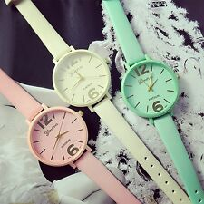 Women's Geneva Candy Jelly Color Faux Leather Quartz Analog Dress Wrist Watch