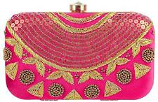Indian Women Bridal Wedding Ethnic Pearl Purse Prom Evening Party Bag Clutch Box
