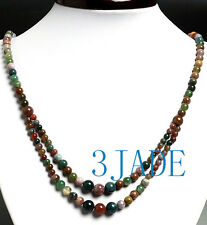 """22"""" Natural Multicolor Moss Agate Beads Necklace"""