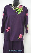 Michael Simon Lite knit pant Suit Pants Set 2 Pc blouse casual resort wear SZ S