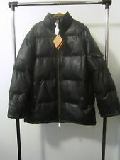 VINTAGE TIMBERLAND LEATHER DOWN PUFFER COAT JACKET PARKA BLACK SIZE LARGE