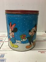 Vintage Walt Disney Mickey, Donald, Minnie, Daffy and Pluto Metal Container Tin
