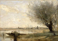 Art Oil painting Corot - Fisherman Moored at a Bank landscape canvas 36""