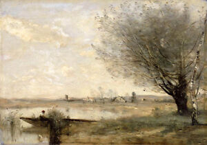 """Art Oil painting Corot - Fisherman Moored at a Bank landscape canvas 36"""""""