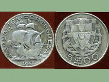 PORTUGAL 5 escudos 1942  ARGENT  SILVER