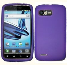 Dark Purple Rubber SILICONE Skin Soft Gel Case Phone Cover AT&T Motorola Atrix 2