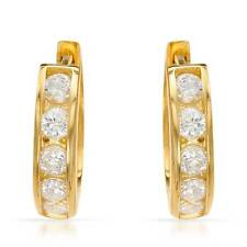 Lovely Small Hoop Earrings With 0.50ctw CZ in 14K/925 Gold plated Silver
