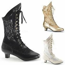 PLEASER FUNTASMA Dame-115 PU Lace Victorian Kitten Heel Mid Calf Boots