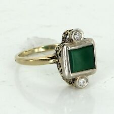 Antique Deco Chrysoprase Diamond Cocktail Ring Vintage 14k Gold Estate Jewelry