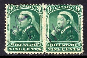 CANADA THIRD BILL ISSUE #FB46 9c GREEN PAIR, 1868 PERF12, THIN PAPER, USED