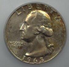 1963 WASHINGTON SILVER 25 CENTS  ICG MS67 RARE IN THIS GRADE!