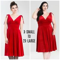 Hell Bunny Melina Dress X-Small to 2X-Large Plus Red Velvet Goth PinUp Burlesque