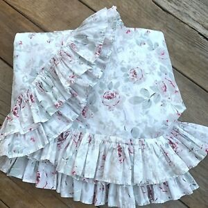 """Simply Shabby Chic Rose Floral Round Tablecloth White Gray Ruffle 68"""" Round"""