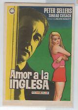 AMOR A LA INGLESA PROGRAMA DE MANO CINE PETER SELLERS - SINEAD CUSACK  Ref:Pc89